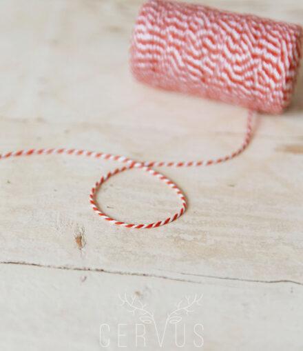 Sznurek ozdobny biało-czerwony